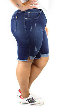 Bermuda Jeans Zamper's Plus Size com Fenda