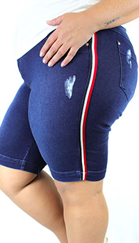 Bermuda Jeans Zamper's Plus Size com Listra Lateral