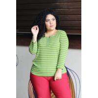 Blusa plus size feminina de malha canelada listrada Amarras