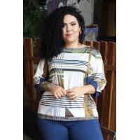 Blusa plus size feminina de malha fria estampada  Amarras