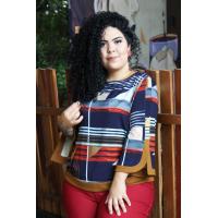 Blusa plus size feminina manga de sino  estampada  Amarras