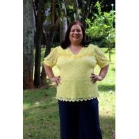 Blusa plus size feminina c/ Frente Rendada Repenique