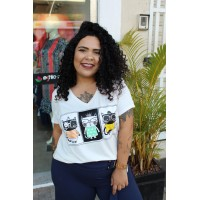 Blusa T-Shirt plus size feminina Off White Rery