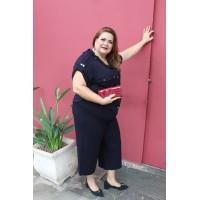 Camisa plus size feminina c/ Detalhes em botão  Helô pinheiro