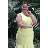 Vestido plus size feminino c/ barrado babado Amarelo Repenique