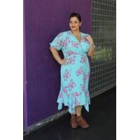 Vestido plus size feminino barrado babado c/ Pontas Repenique