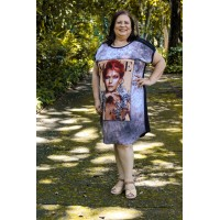 Vestido plus size feminino Estampado Vogue Jaque Carvalho