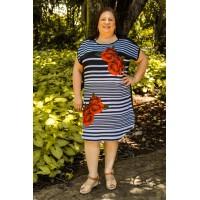 Vestido  plus size feminino Estampado Listras e Rosas Jaque Carvalho