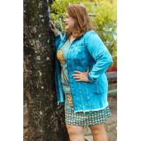 Vestido Plus Size Feminino  de Malha em Crepe Folhagem Azury