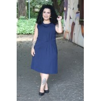 Vestido Social Plus Size Feminino Com Pregas Laterais Amarras