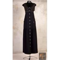 Vestido longo plus size feminino  com Detalhes Bordados Rogério Costa