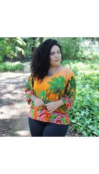 Blusa Tropical Orange Estilo Maior