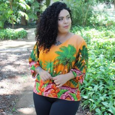 Blusa Tropical Orange Estilo Maior