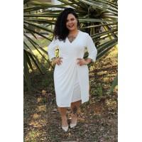 Vestido Liso em Malha Stretch e Decote V