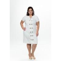 Vestido Off-White com Renda Guipir
