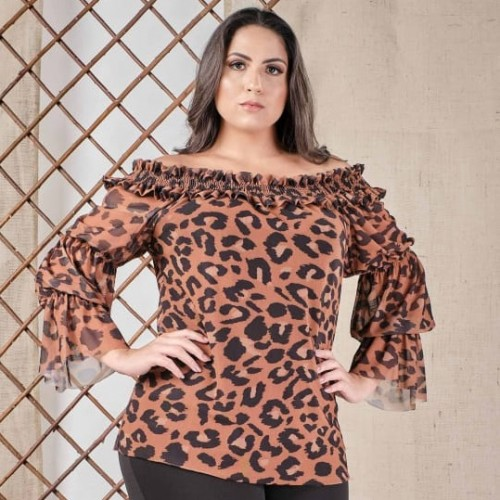 Blusa Cigana plus size feminina Animal Print Urbana Modas