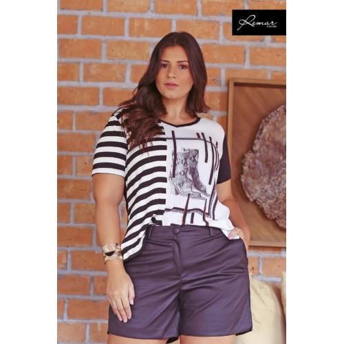 Blusa T-Shirt  plus size feminina Listra Lateral  Remar