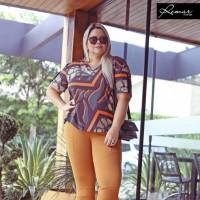 Blusa T-Shirt plus size feminina Quadrada Estampada Remar
