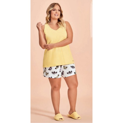 Conjunto Short Doll plus size feminino  Regata Amarela Lua Encantada