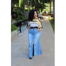 Saia Longa jeans  plus size feminina com Fenda Base Seth