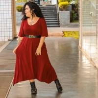 Vestido plus size feminino Assimétrico C/ Bolsos