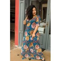 Vestido Longo  plus size  em tule Floral Manga Princesa c/ Ombreira D'Laport