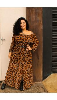 Vestido Longo Cigana Animal Print Urbana Modas